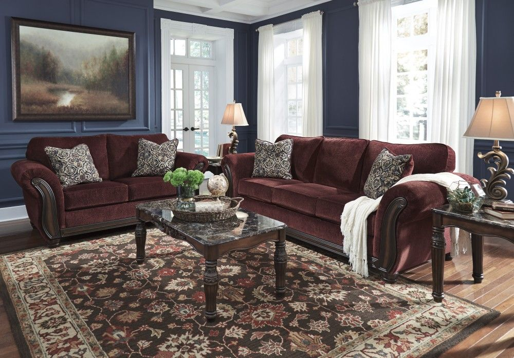 Chesterbrook - Burgundy - Sofa & Loveseat | Living Room ...