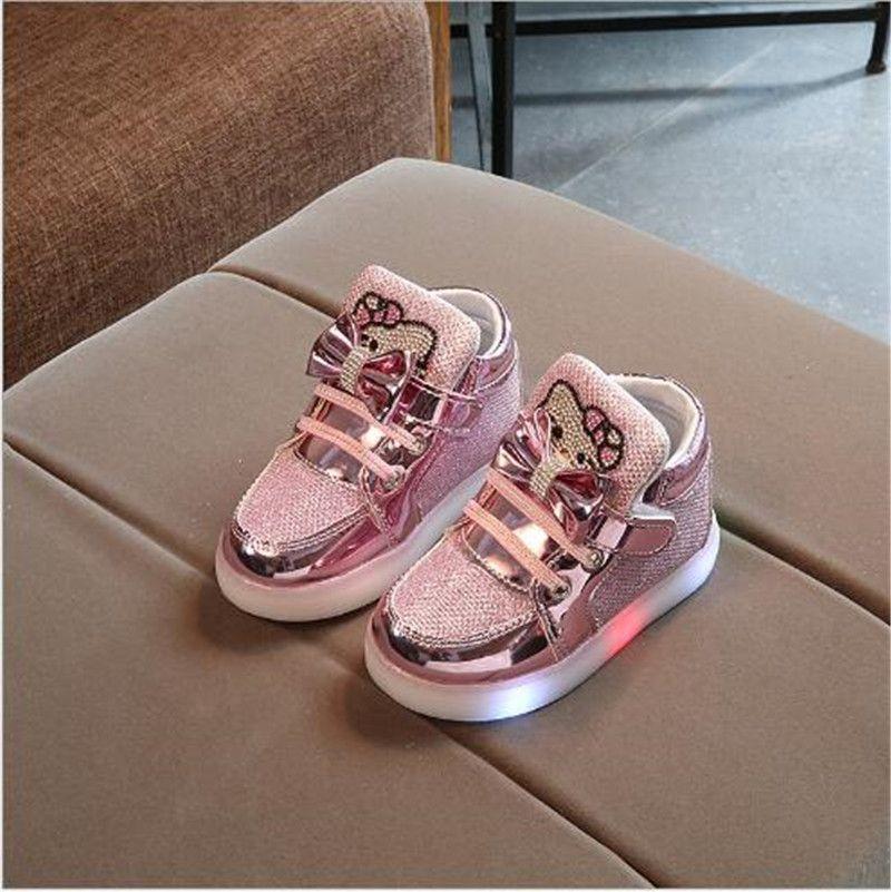Children Boys Girls Kids LED Light Up Sneakers Baby Toddler Running Shoes UK!