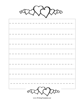 the seven wide handwriting spaces on this free printable writing