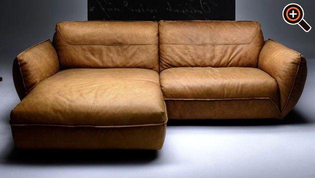 Modernes Sofa – Designer Couch fürs Wohnzimmer aus Leder – schwarz ...