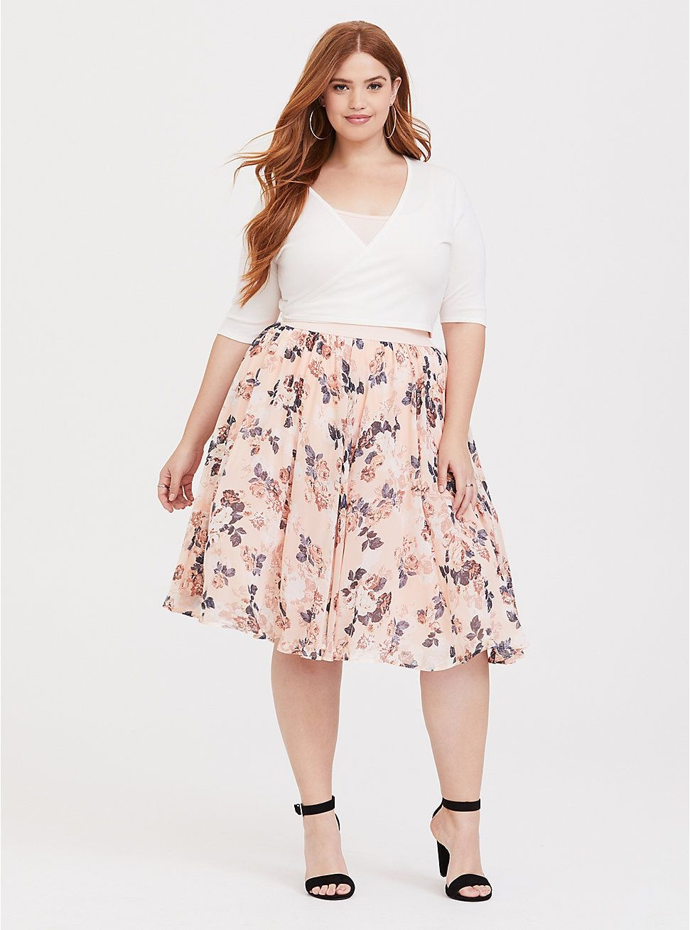 c7d65a6cf13701 Blush Floral Chiffon Skater Midi Skirt in 2019 | Looks To Inspire ...