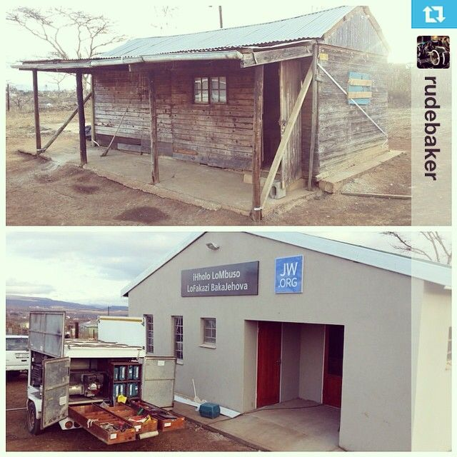 Replacing the old with the new. Putting the last few finishing touches at Mpolwheni KZN South Africa. The last Hall for the service year 2013-2014 | August 2014