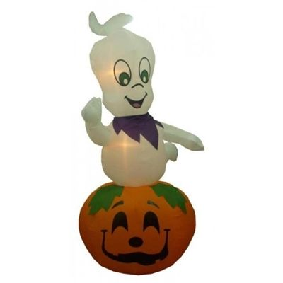 9\u0027 Airblown Inflatable Ghost on Pumpkin Lighted Halloween Yard Art - halloween lighted decorations