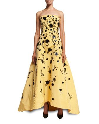 Strapless+Beaded+Silk+Faille+Gown,+Yellow+by+Oscar+de+la+Renta+at+Bergdorf+Goodman.