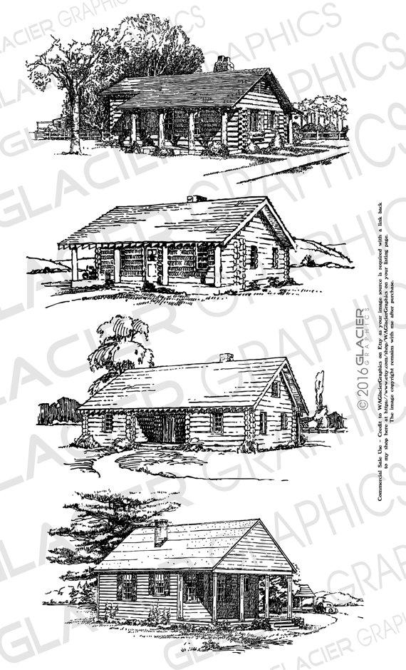 4 Cabin Illustrations Vintage Cabin Clipart Vector Copyright Etsy Vintage Cabin Illustration Clip Art