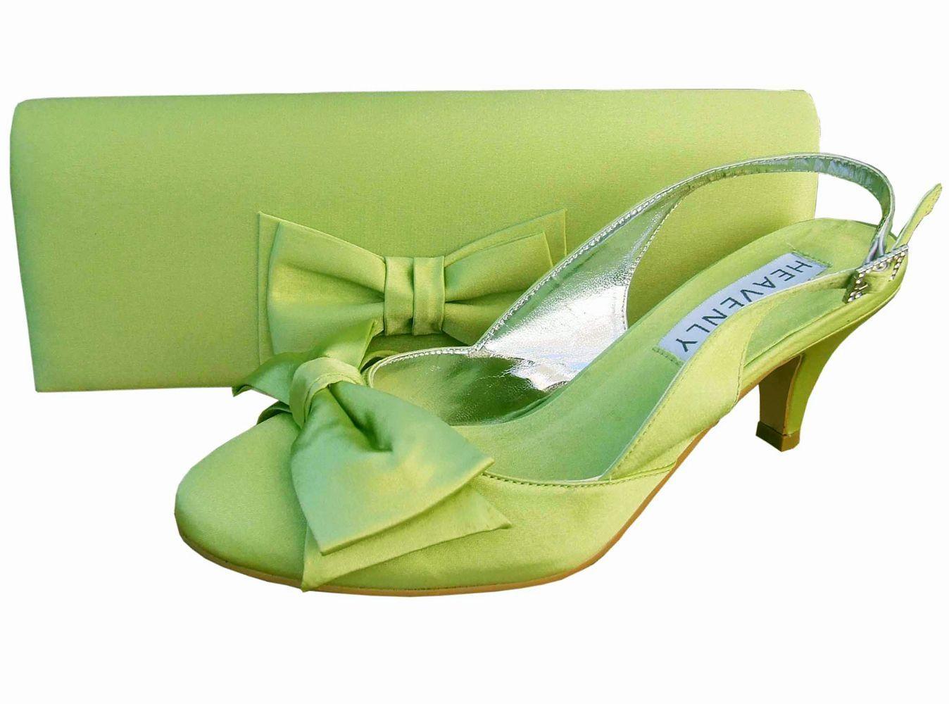 Twee Lime Green Satin Slingback Shoes GBP5500