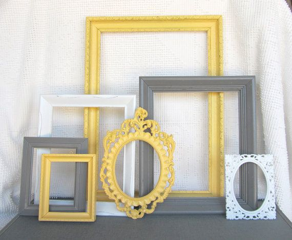 Yellow, Grey White VINTAGE Ornate Open Frames Set of 7 - Upcycled ...