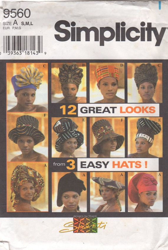 Simplicity 9560 Misses HATS Pattern African Fashion by mbchills ...