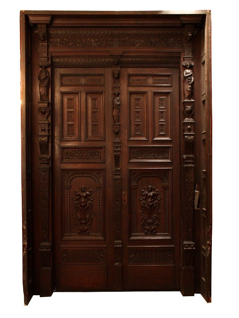 80 Alluring Front Door Designs To Refine Your Home: Magnificent Antique Carved Figural 10' Entryway With Double Doors, Mid To Late 1800's