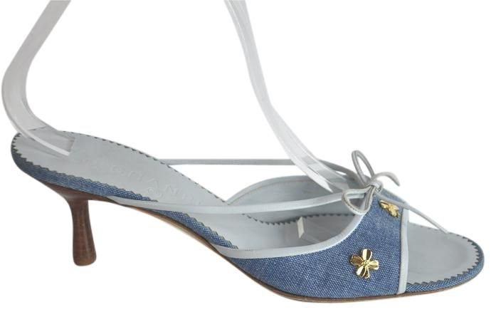 db8bb73b94 Chanel Kitten Heel Mules Size 41 Blue Denim Sandals. Get the must-have  sandals of this season! These Chanel Kitten Heel Mules Size 41 Blue Denim  Sandals are ...