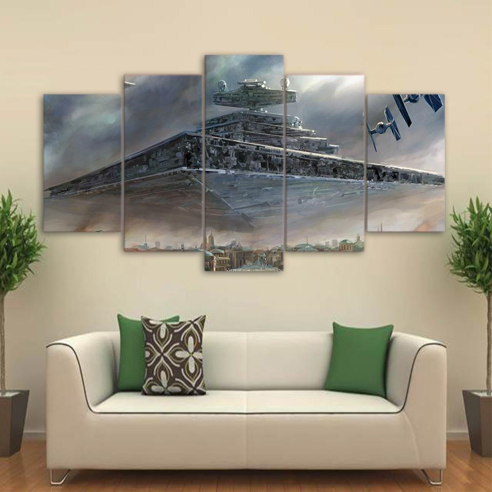 Star Wars Star Destroyer 5 Panel Canvas Print Wall Art Extra Large Unframed Canvas Only Canvas Art Wall Decor Star Wars Wall Decor Wall Canvas