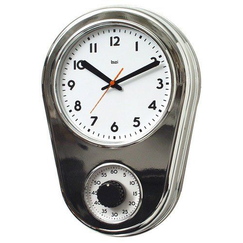 Restaurant Kitchen Wall Finishes bai design retro kitchen timer wall clock in chrome silver bai
