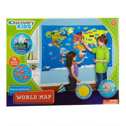 One of my favorite discoveries at christmastreeshops 55 travel around the world without getting on a plane this extra large fabric map includes 76 hook and loop stick ons that encourage exploration gumiabroncs Images