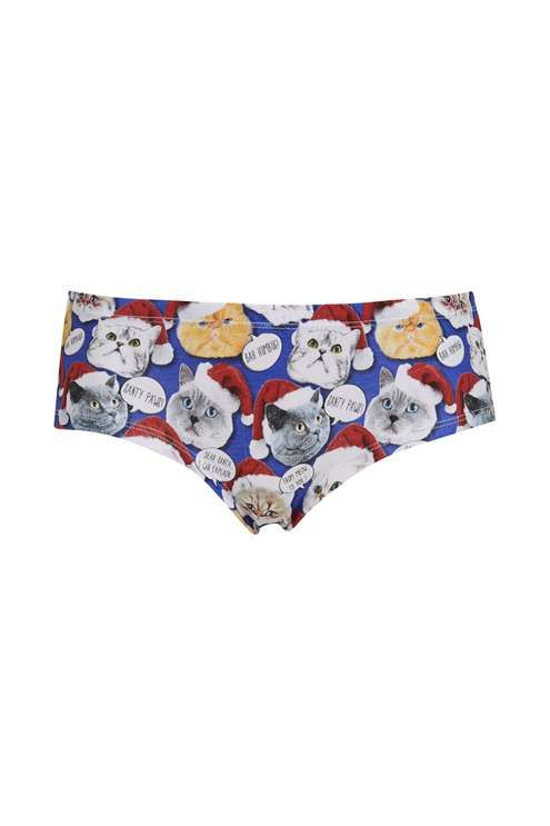 get festive with your underwear with these super cute cheeky knickers in all over christmas cat print topshop