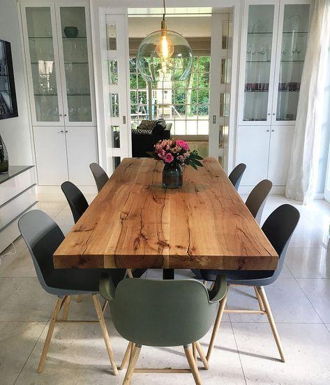 Esstisch massivholztisch holztisch eichentisch - Baumtisch esszimmer ...