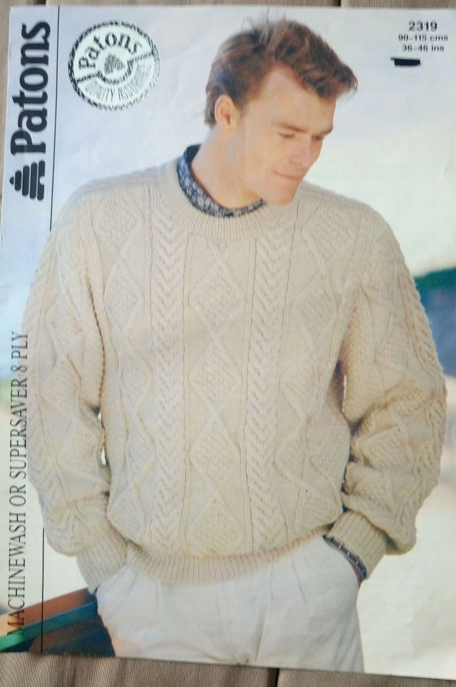 Mens Cable Sweater Knitting Pattern 8 Ply Dk Yarn 36 46 Inch