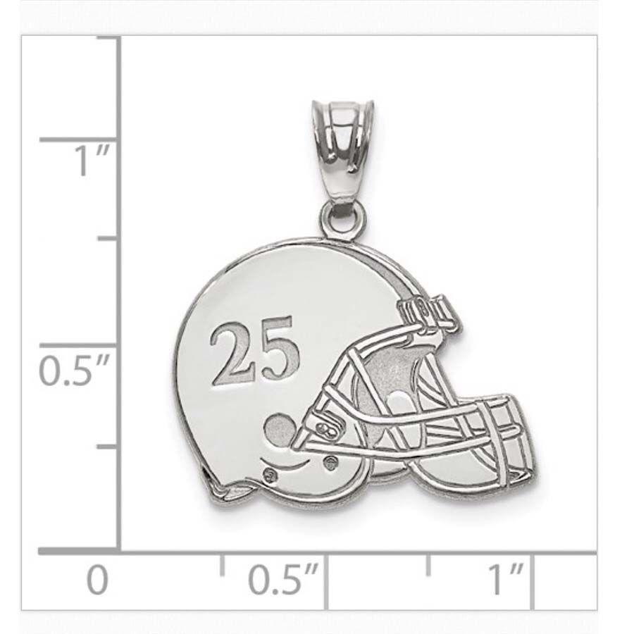 925 Sterling Silver Polished USA Football Sports Helmet Charm Pendant