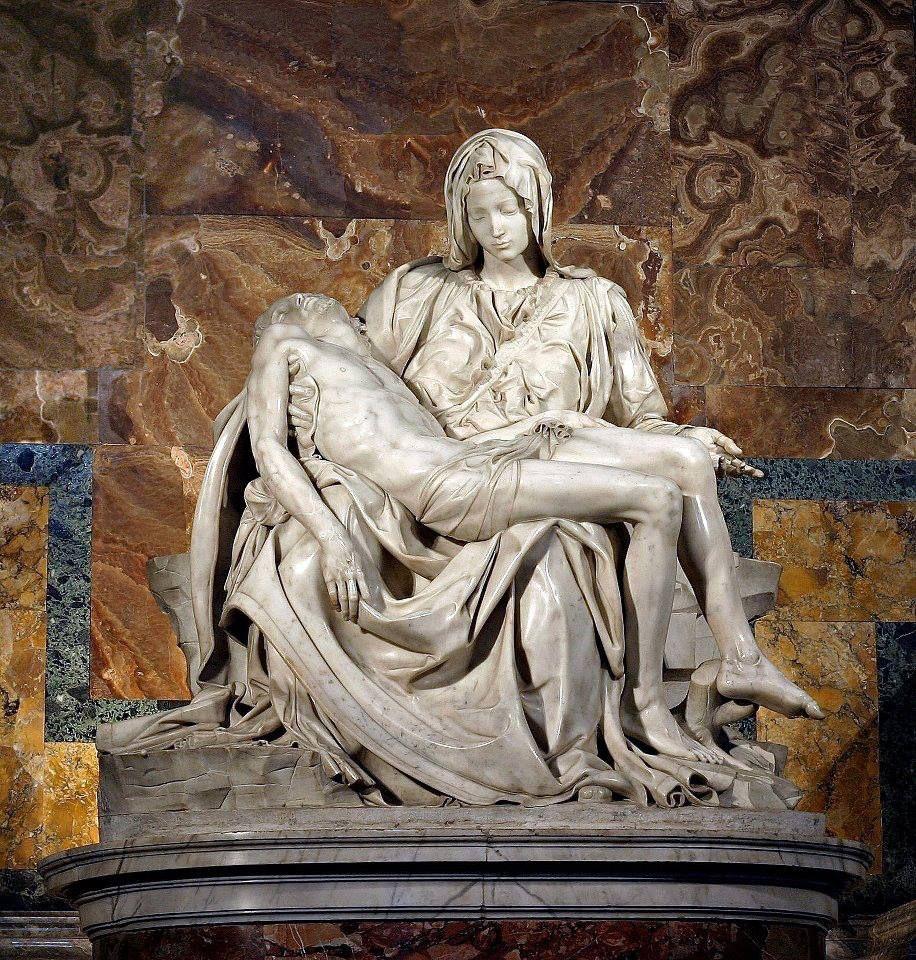 Michelangelo Buonarroti La Pietà 1498-1500 marmo altezza 174 cm Basilica di San Pietro Città del Vaticano Roma