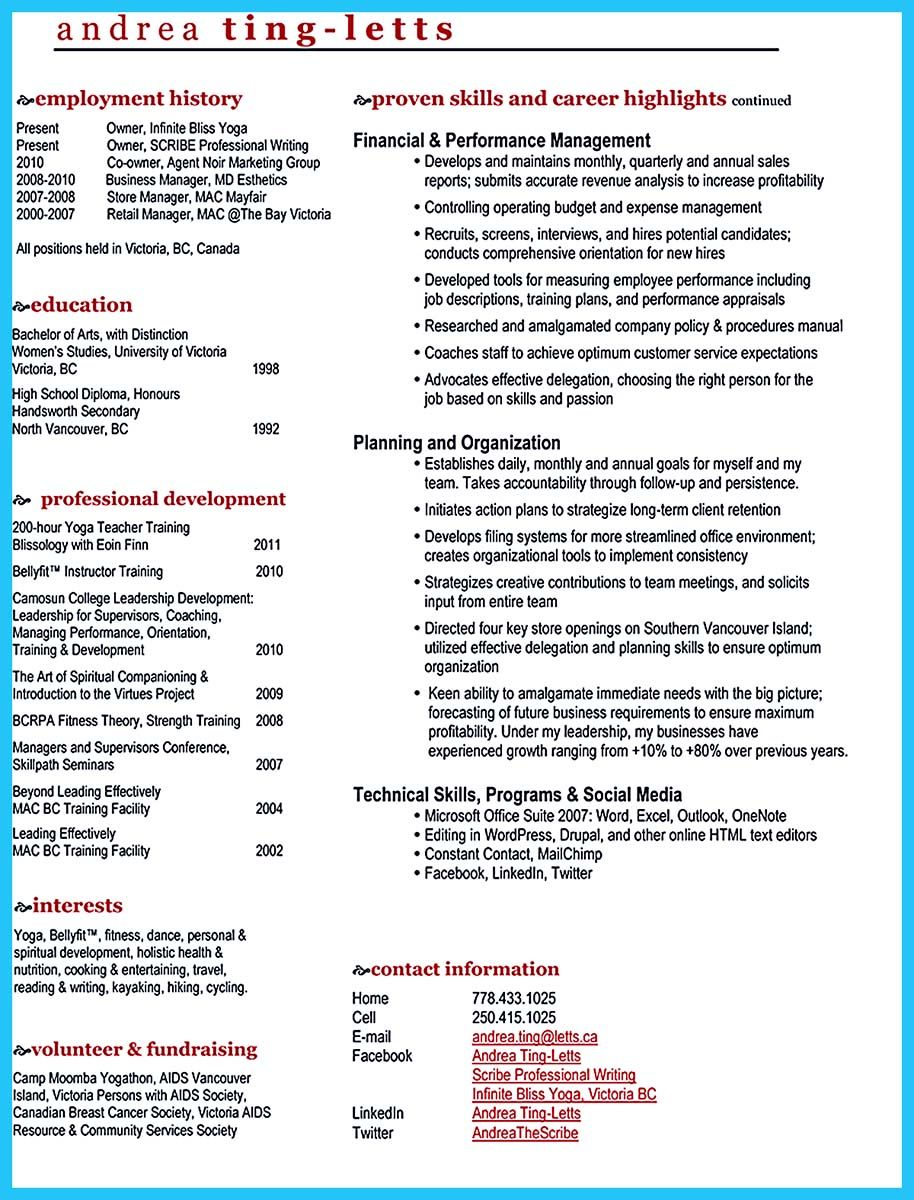 Outstanding Keys To Make Most Attractive Business Owner Resume