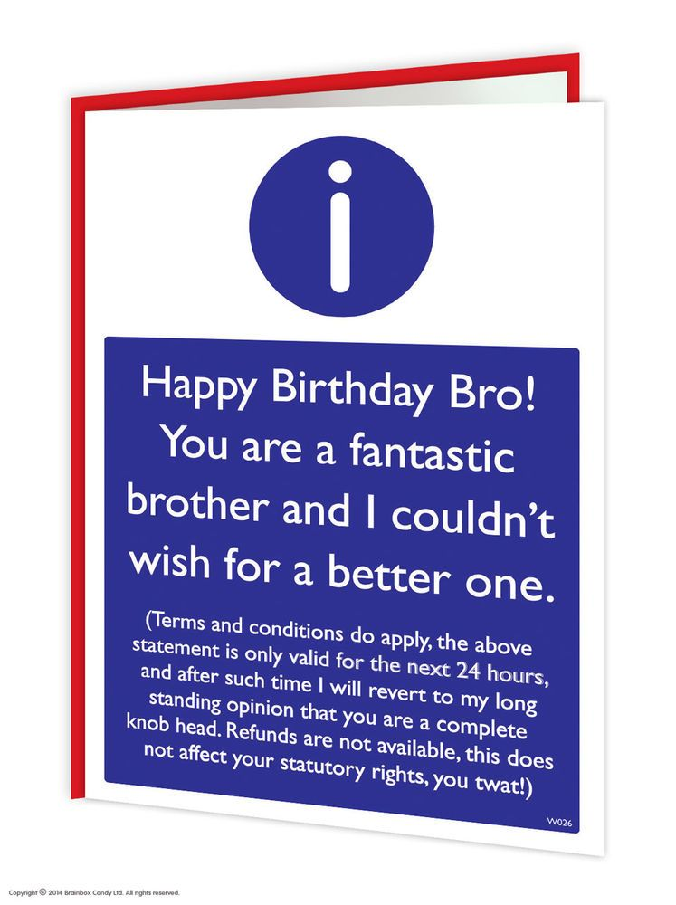 Brother Card Brother Birthday Card Funny Card Card for – Brothers Birthday Card