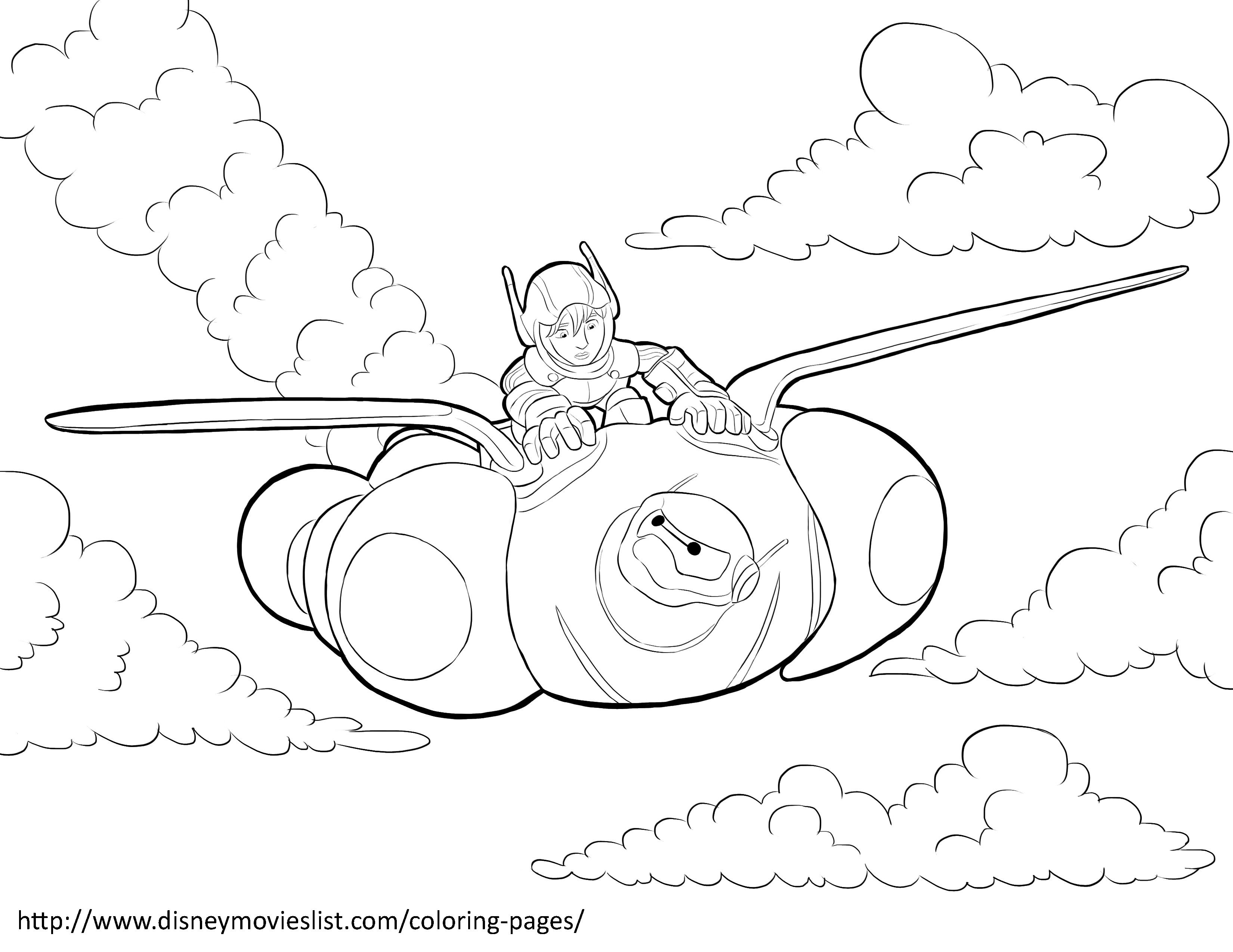 Disney\'s Big Hero 6Hiro and Baymax Flying Coloring Page | Big Hero 6 ...