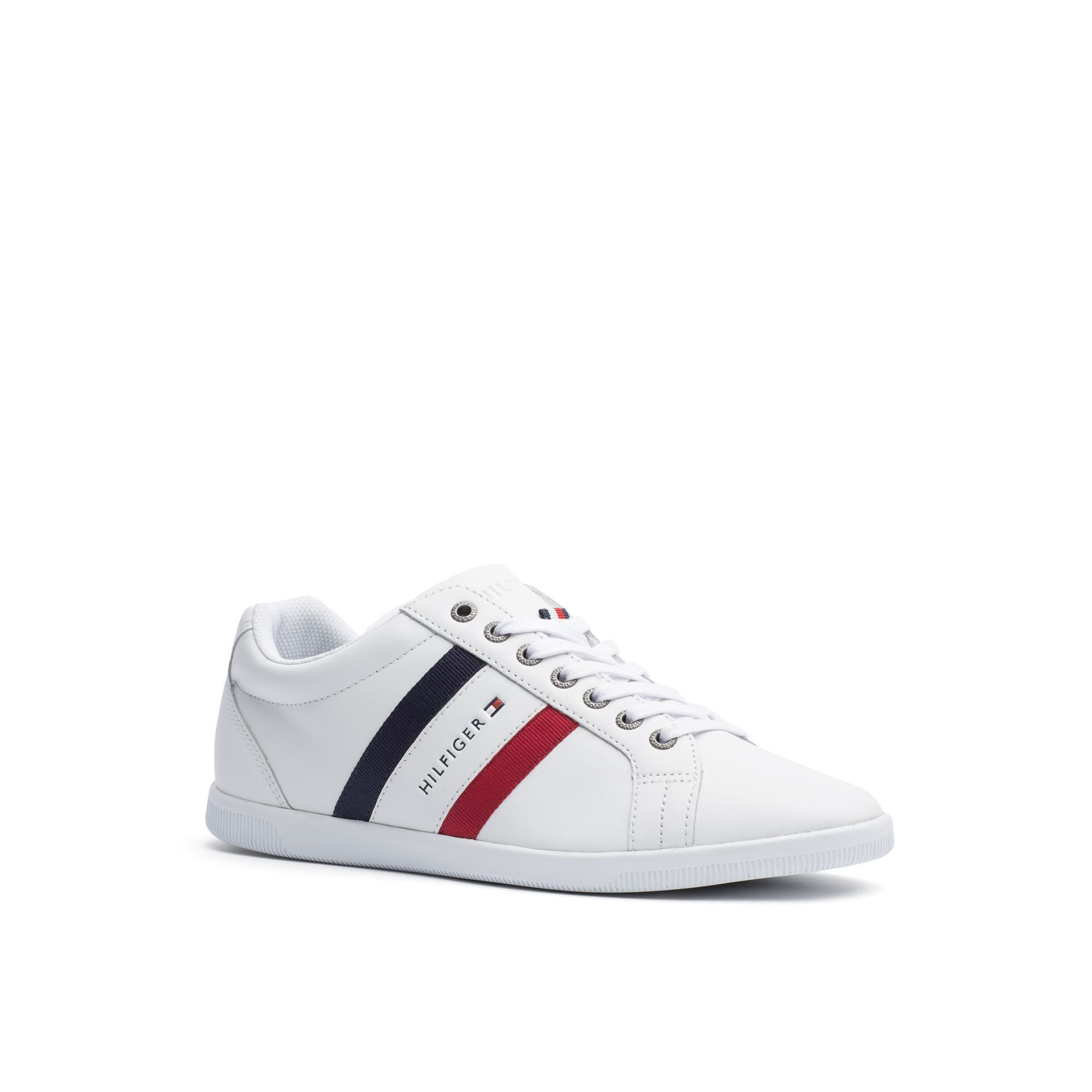 1282eb607ed TOMMY HILFIGER MULTI-STRIPE LEATHER SNEAKER - WHITE. #tommyhilfiger #shoes #