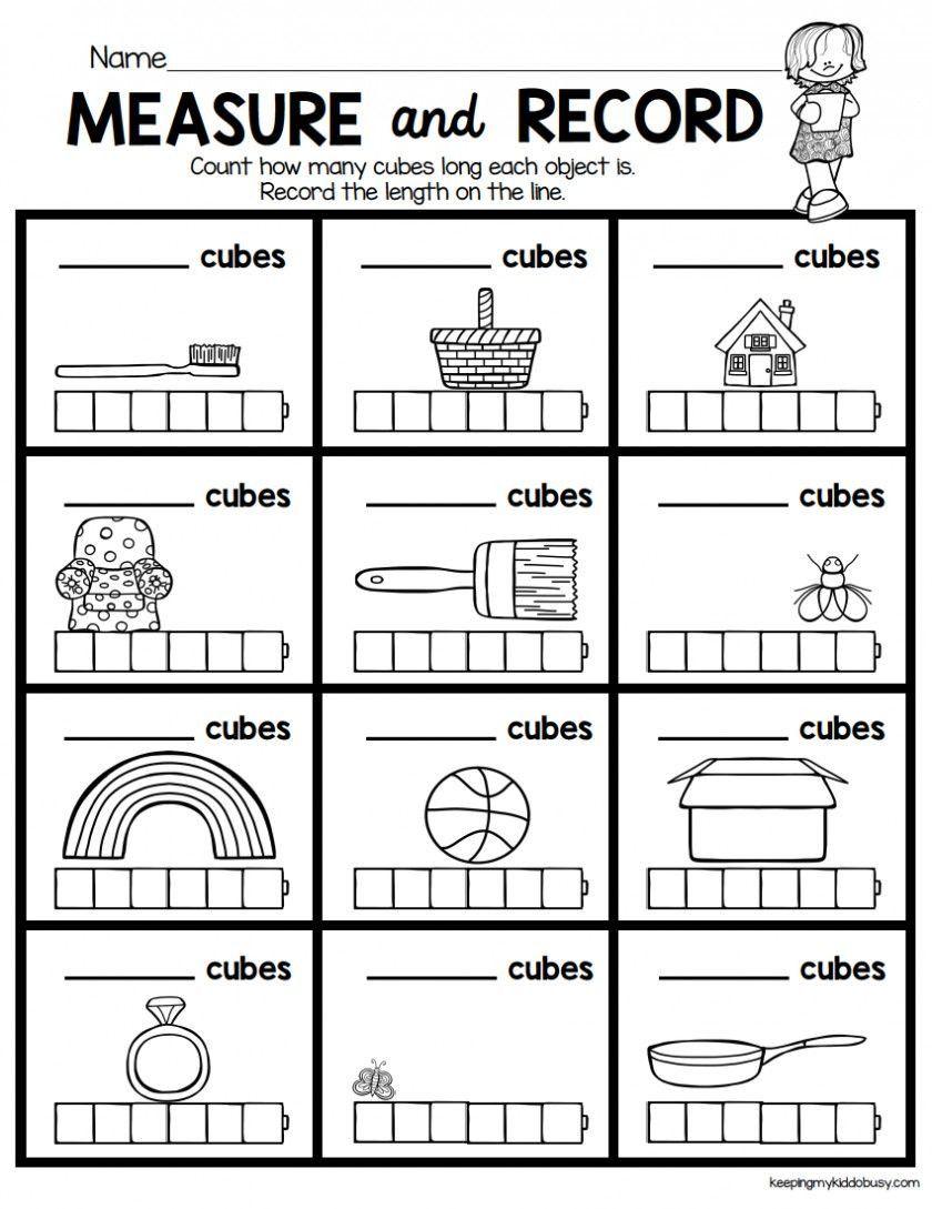Measuring Worksheet For Kindergarten In 2020 Kindergarten Math Units Kindergarten Math Worksheets Kindergarten Math