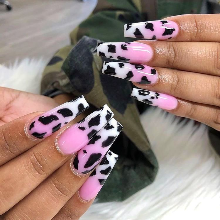 12 Popular Winter Nail Art Trends That You Need To Try Asap Ecemella In 2020 Cow Nails Best Acrylic Nails Pretty Acrylic Nails
