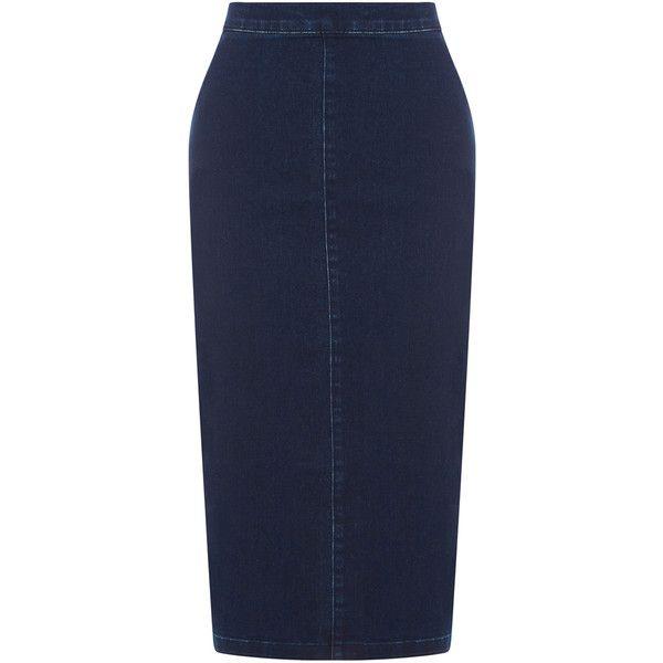 Warehouse Denim Pencil Skirt (52 BRL) ❤ liked on Polyvore featuring skirts, denim, blue pencil skirt, knee length denim pencil skirt, denim pencil skirt, bodycon skirt and body con pencil skirt