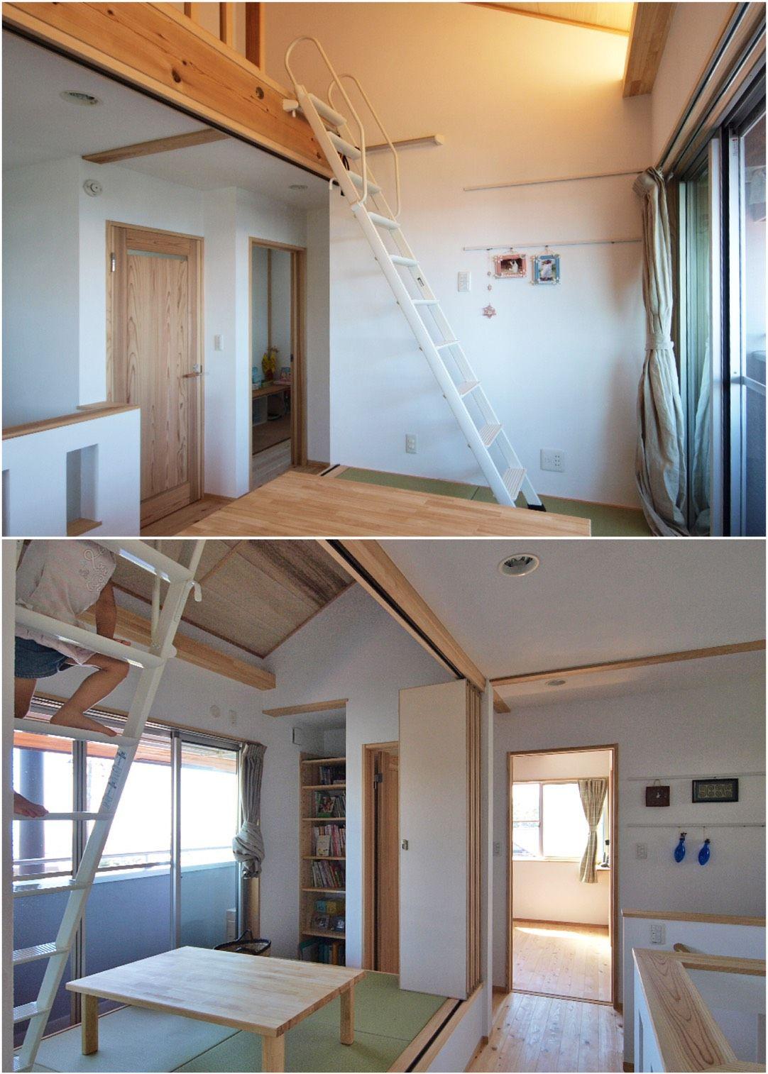ロフトへつながる簡易階段 屋根空間も広々活用 家 マイホーム