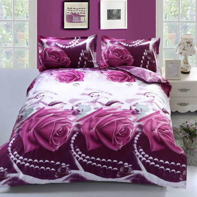 3d Love Flower Bedding Sets 4pcs Set Duvet Cover Set Bed Sheet