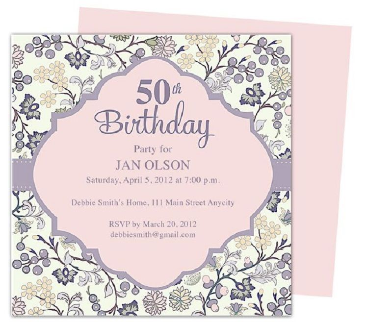 50th Birthday Invitations Samples