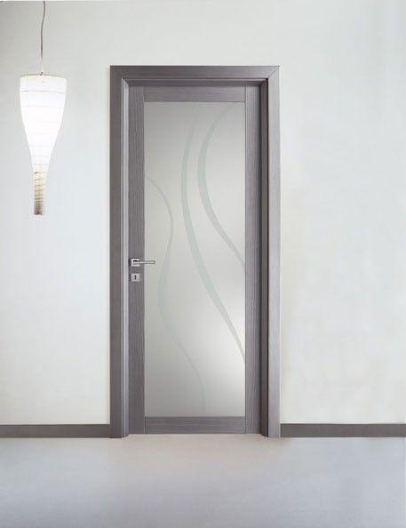 Porta in legno massello laccato alluminio e vetro   Porte Moderne ...