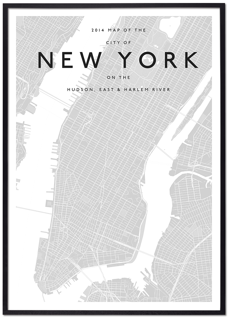 New York Map Black And White.Modern New York Map Interiors Wall Decor Map Of New York New