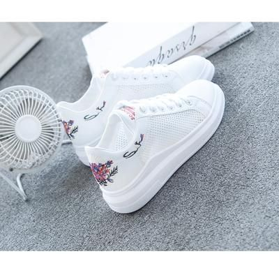 WAWFROK Women Casual Shoes Summer 2018 Spring Women Shoes Fashion Embroidered Breathable Hollow LaceUp Women Sneakers is part of Sneakers fashion - Department Name AdultClosure Type LaceUpBrand Name WAWFROKModel Number 0097Pattern Type FloralSeason SummerFit Fits smaller than usual  Please check this store's sizing infoInsole Material FabricHeel Height Flat (≤1cm)Lining Material MeshFashion Element EmbroiderUpper Material PU