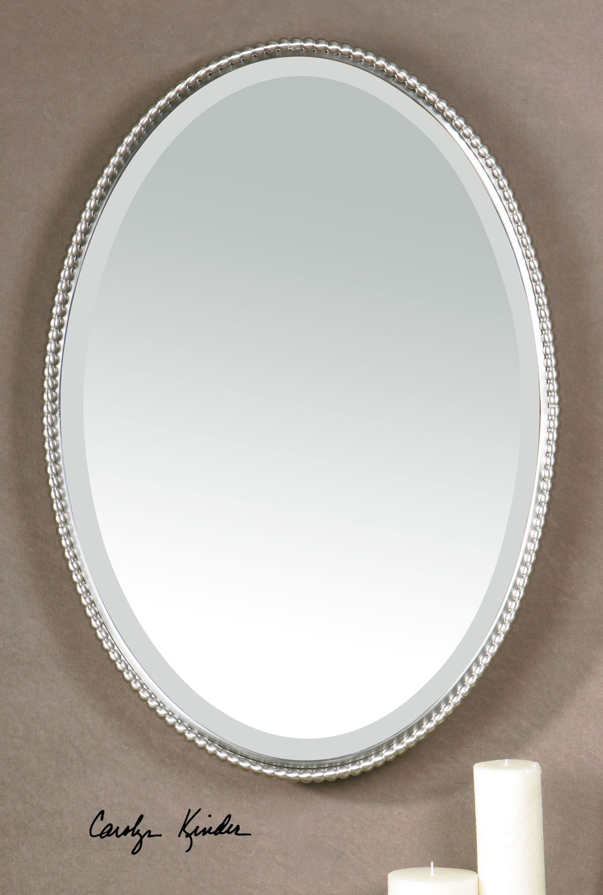 Sherise Brushed Nickel Oval Mirror Decorative Mirrors Oval