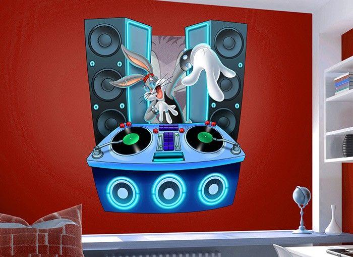 Wall decal Bugs Bunny Vinyl Stickers Cartoon Bugs Bunny Wall Sticker Wall Decor kids decals childrens decals Kids Bedroom Decal kcik2016