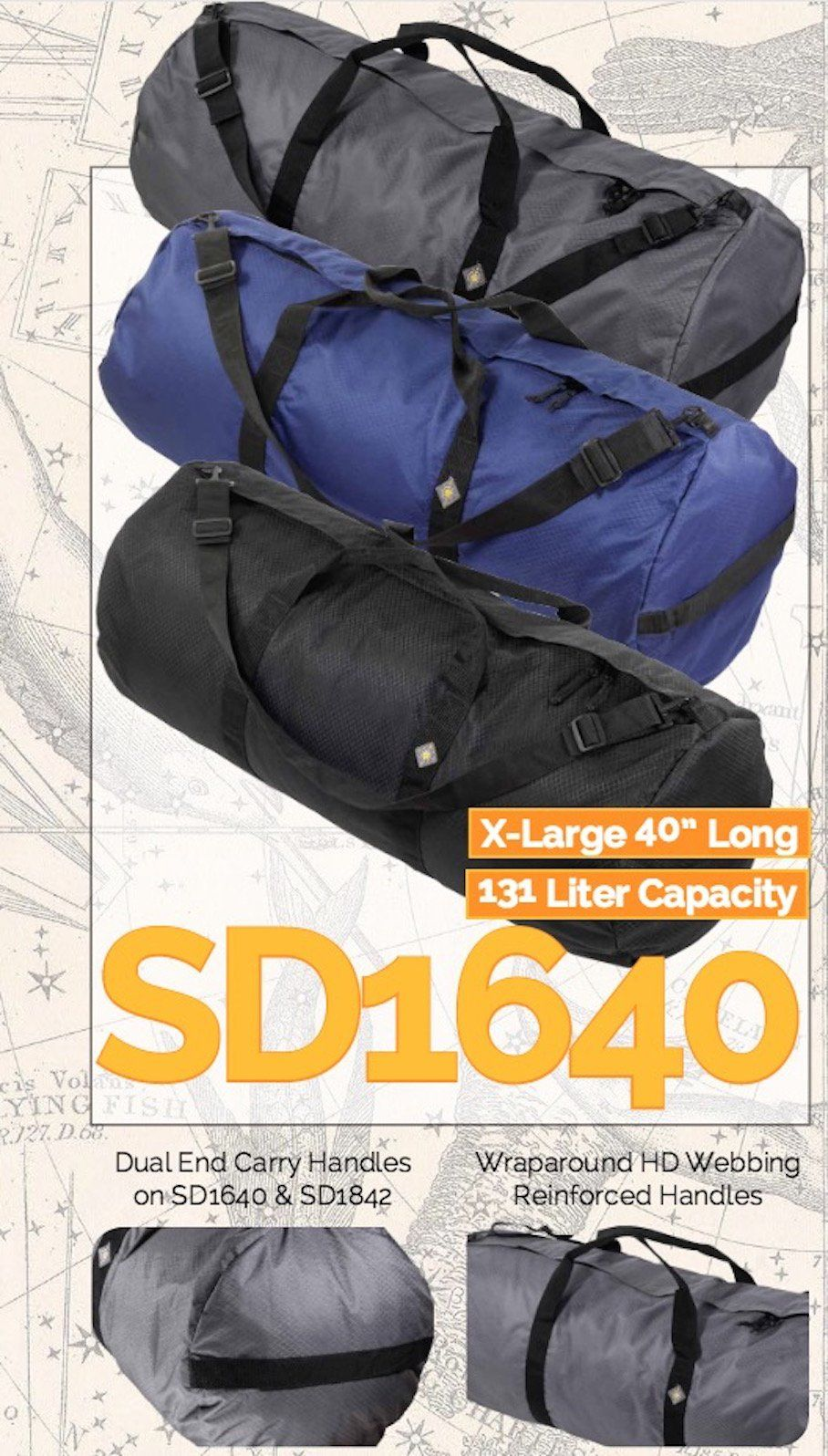 465f0b4ea2 Northstar SD1640DLXMB Sports 1050 HD Tuff Cloth Diamond Ripstop Series Gear  and Duffle Bag 16 x