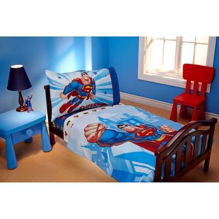 Warner Brosdc Super Friends Reversible 4Piece Toddler Bedding Inspiration Toddler Bedroom Set Design Inspiration