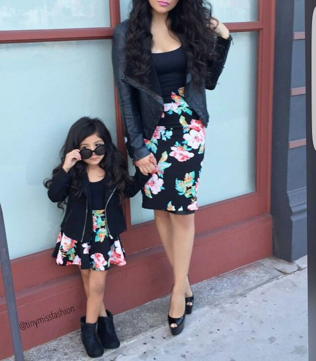Cute matching outfit mother & daughter