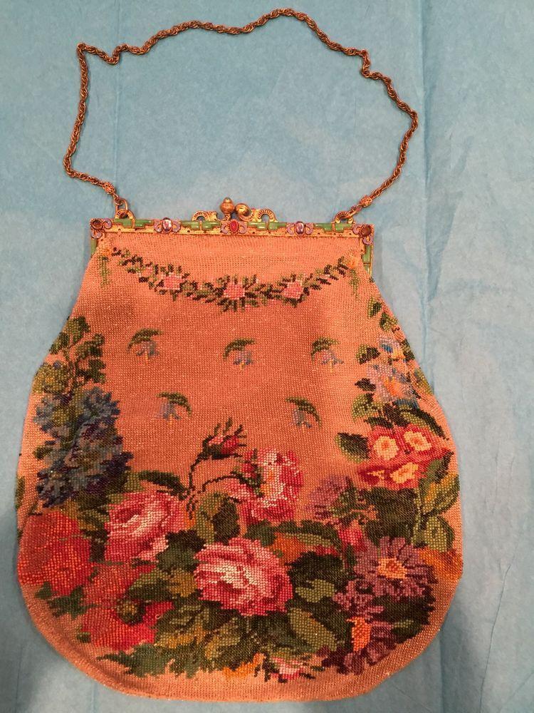 Antique Beaded Purse Handbag w Floral Rose Design Gold Frame Has Assorted Gems | eBay