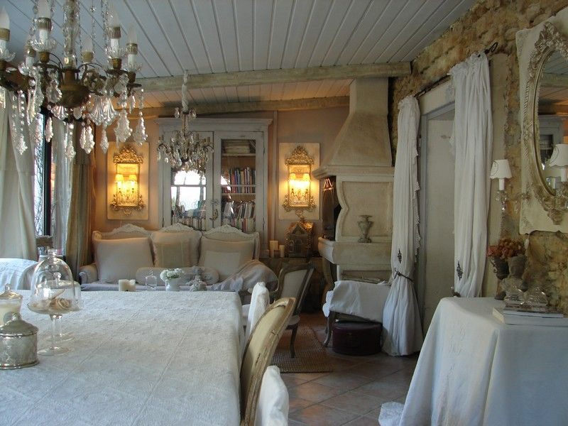 Shabby chic romantique deco charme h dining room for Deco shabby campagne