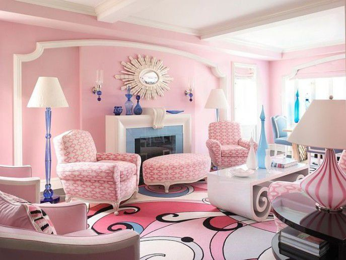 Feminine living room with pink accessories | Home Decor | Pinterest ...