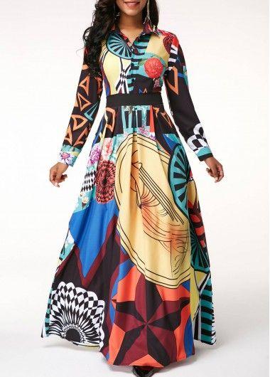 Long Sleeve High Waist Printed Maxi Dress Rosewe Com