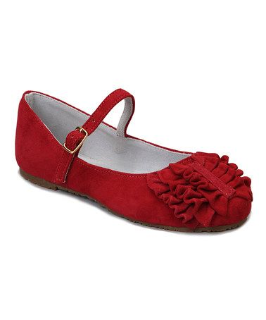 This Red Ruffle Suede Mary Jane is perfect! #zulilyfinds