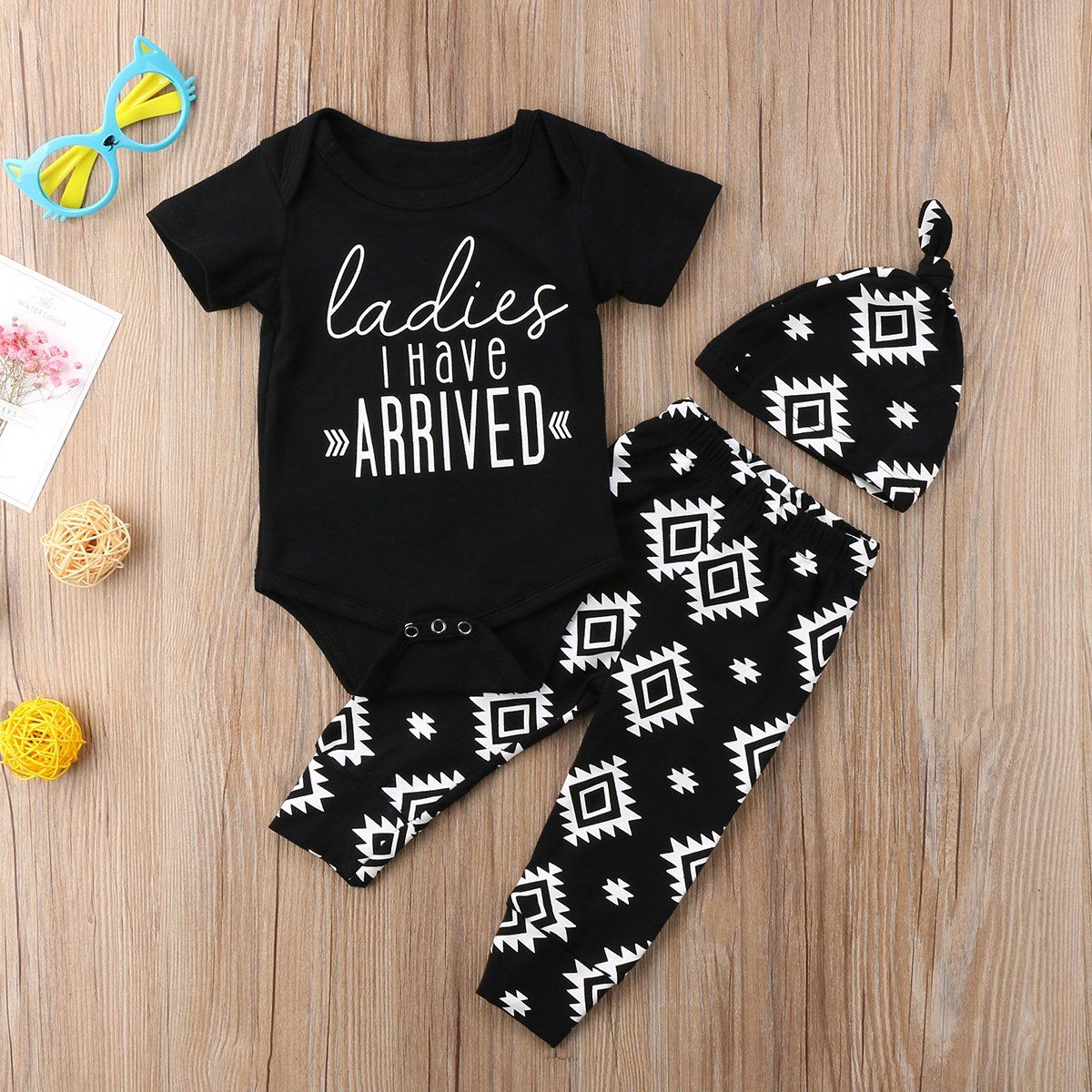 Ladies I Have Arrived Clothing Set (3 Piece Set)  Buy it today from www.babypetite.com  We sell cute and adorable baby clothing, shoes, socks, bibs, tableware, blankets, clothing sets, dresses, rompers, outfits and many more baby essentials.   Shop our products on Baby Petite today 👶  FREE Worldwide Shipping to over 230+ countries ✈️  www.babypetite.com  #pregnant #newborn #newbornbaby #babyboy #pregnancy #babypresent #toddlerclothing #bedsheets #babyideas #clothing