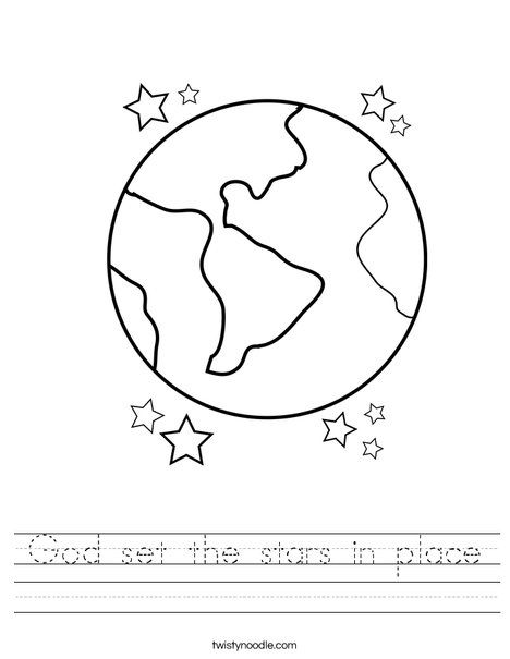 God Set The Stars In Place Worksheet