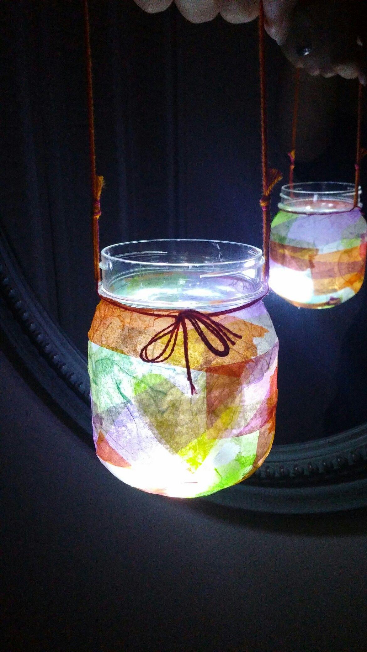Mason jar lantern I made with the kids!!!