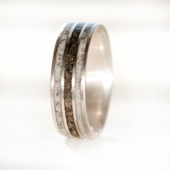 Mens Wedding Band Antler & Iron Ore Ring - Staghead Designs ...