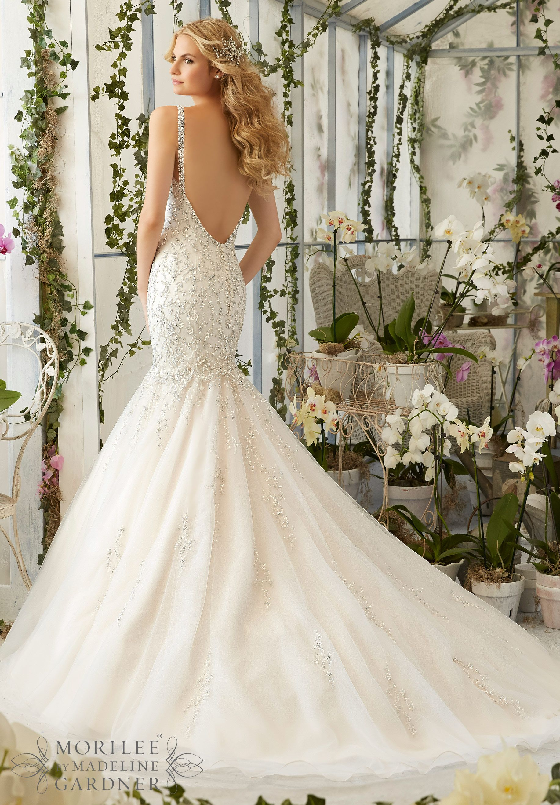Tulle mermaid wedding dress  Wedding Dress  Intricate Crystal Beaded Embroidery on the Tulle